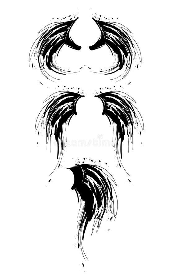 croquis Ailes d'ange de bande dessin?e Les ailes silhouettent la collection illustration de vecteur