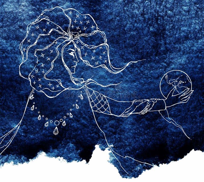 Croquis aquarelle de nuit de bleu marine d'astrologue de schéma illustration libre de droits