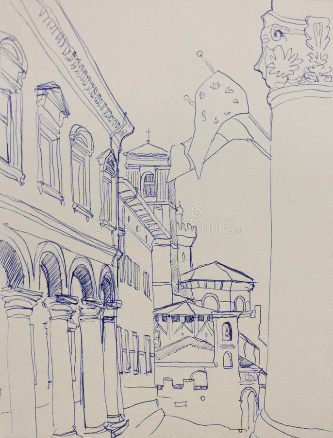 Croquis architectural de lineart à Bologna, Italie, par l'intermédiaire de vue de Zamboni illustration de vecteur