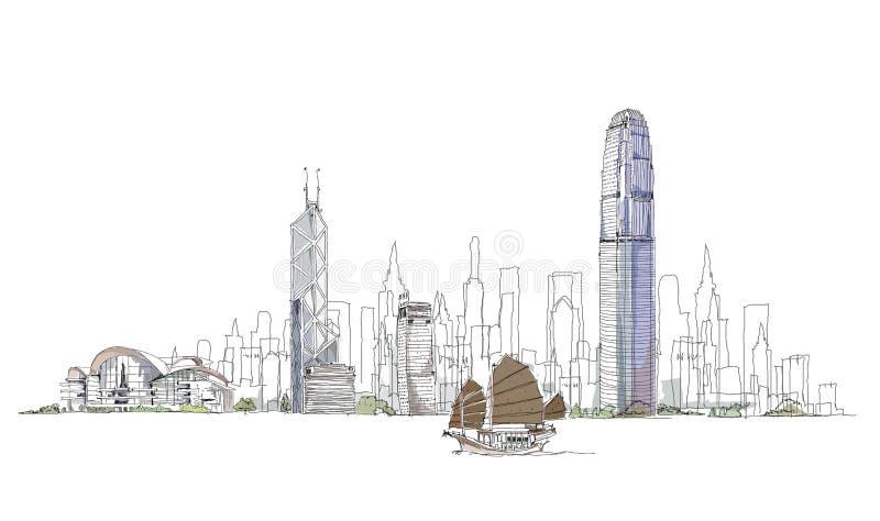 Croquis artistique de baie de Hong Kong, collection de croquis illustration stock