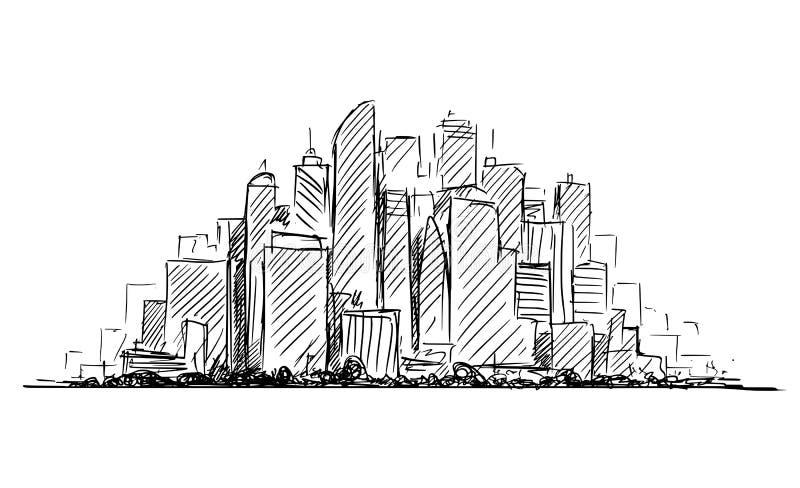 Croquis artistique de dessin de vecteur de paysage ayant beaucoup d'étages de paysage urbain de ville générique avec des bâtiment illustration de vecteur