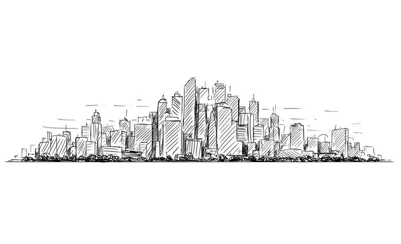 Croquis artistique de dessin de vecteur de paysage ayant beaucoup d'étages de paysage urbain de ville générique avec des bâtiment illustration libre de droits