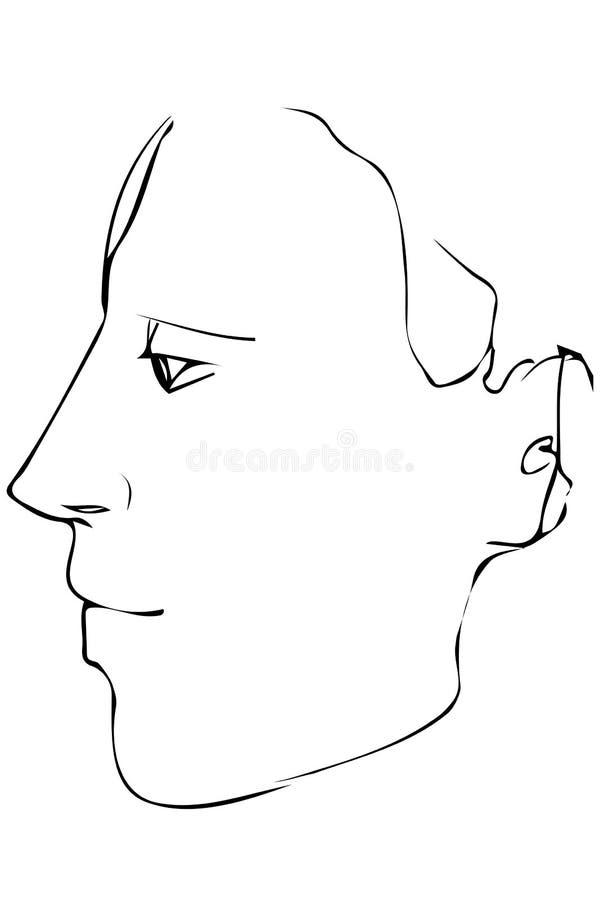 Croquis au portrait d'un profil du ` s de jeune homme illustration stock