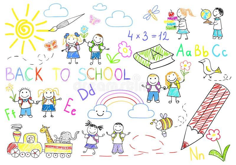 Croquis avec les élèves heureux illustration de vecteur