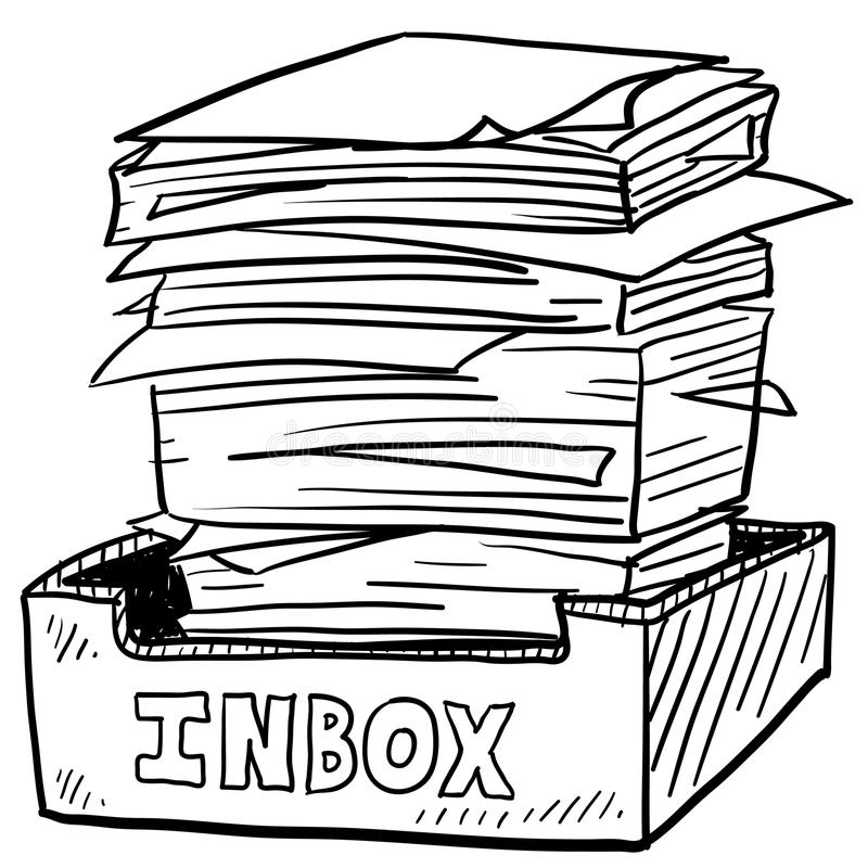 Croquis bourré de contraintes du travail d'inbox illustration stock