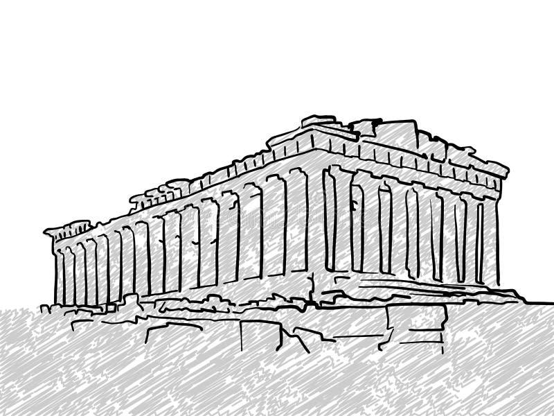 Croquis célèbre de temple d'Athènes, Grèce illustration de vecteur