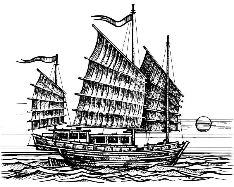 Croquis chinois de bateau d'ordure illustration libre de droits