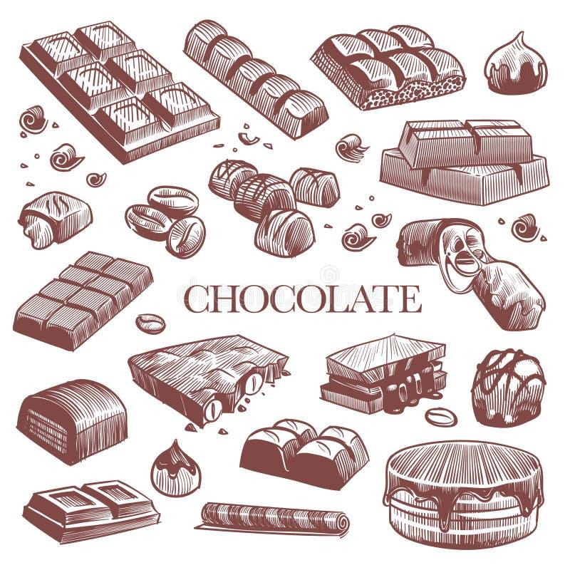 Croquis chocolat Barres de chocolat noir, bonbons à la truffe et haricots à café Vintage tiré à la main vectoriel isolé illustration libre de droits