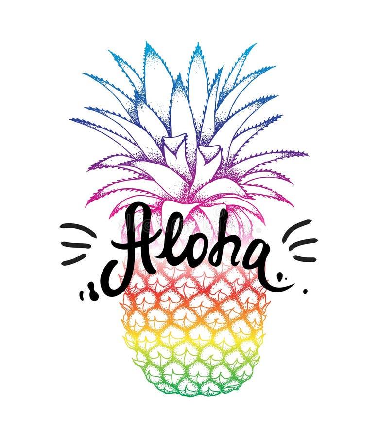 Croquis coloré d'ananas d'isolement sur le fond blanc Aloha lettrage de main, typographie hawaïenne de salutation de langue illustration stock