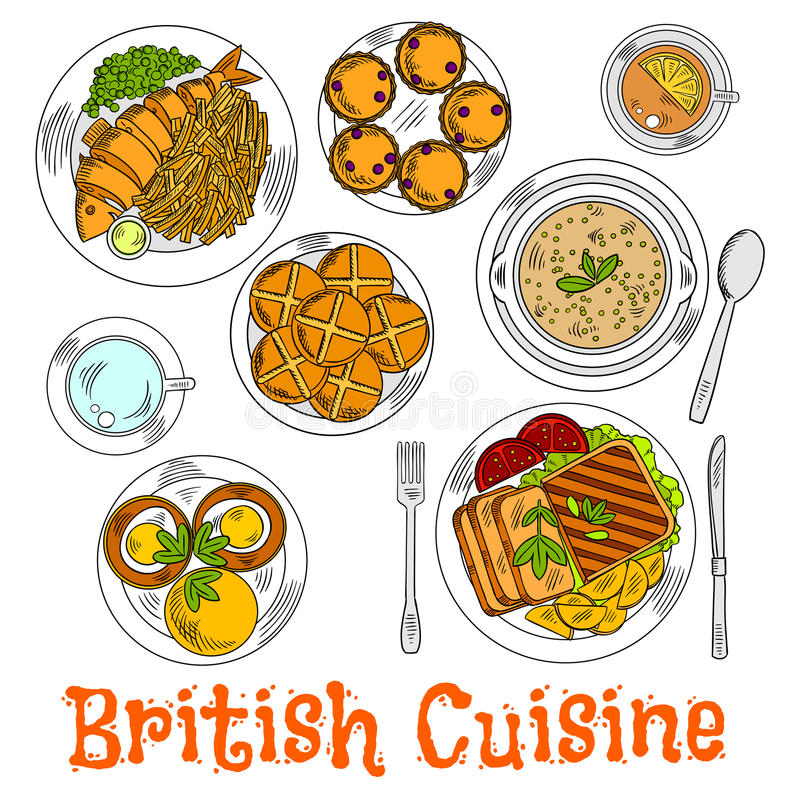 Croquis coloré de dîner de dimanche de l'anglais illustration libre de droits