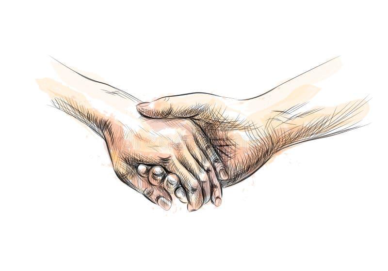 Croquis coloré de main tenant des mains illustration stock