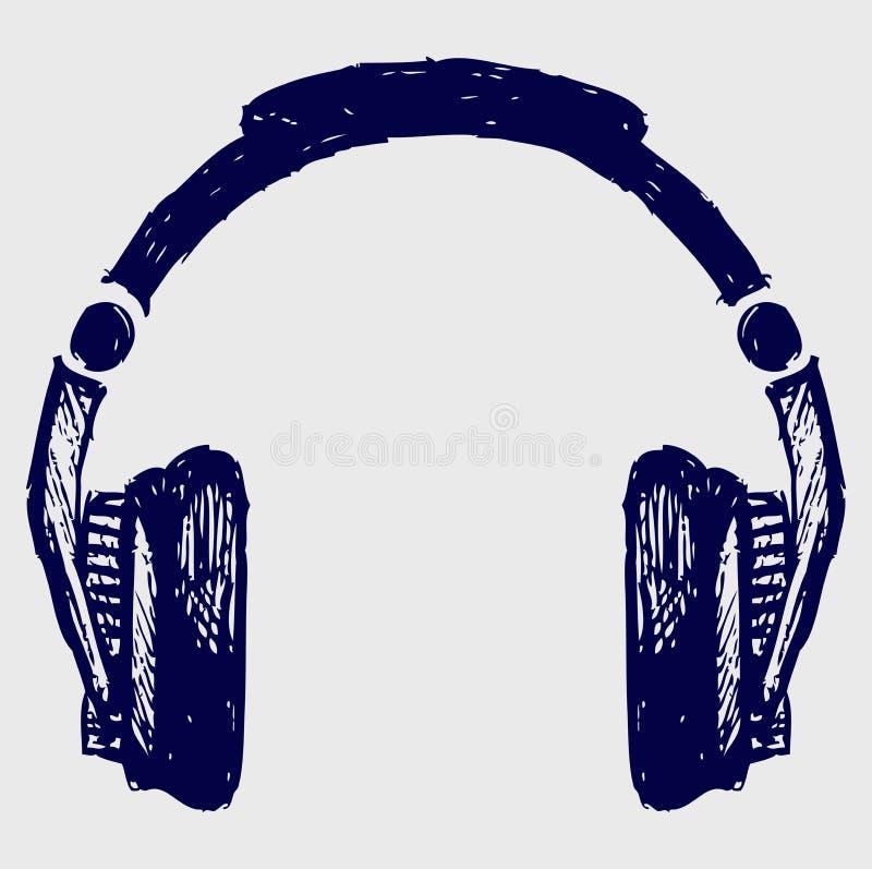 Croquis d'écouteurs illustration de vecteur