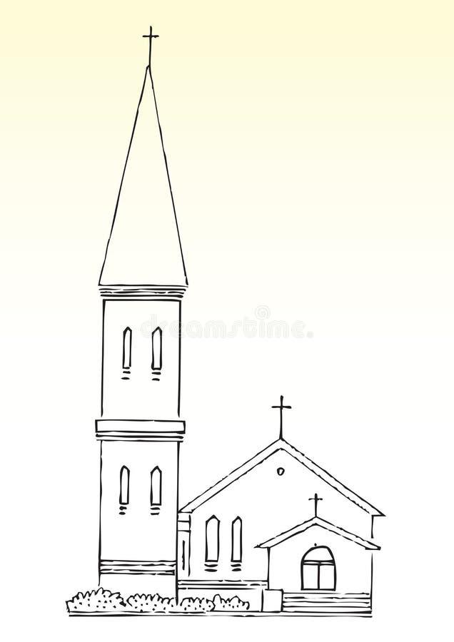 Croquis d'église et de flèche illustration de vecteur