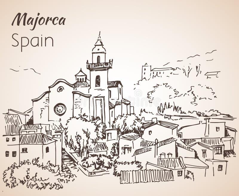 Croquis d'île de Majorca croquis illustration stock