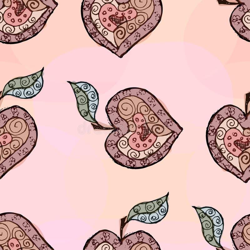 Croquis d'Apple sous forme de coeur illustration stock