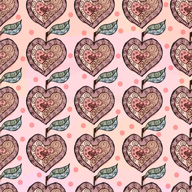 Croquis d'Apple sous forme de coeur illustration de vecteur
