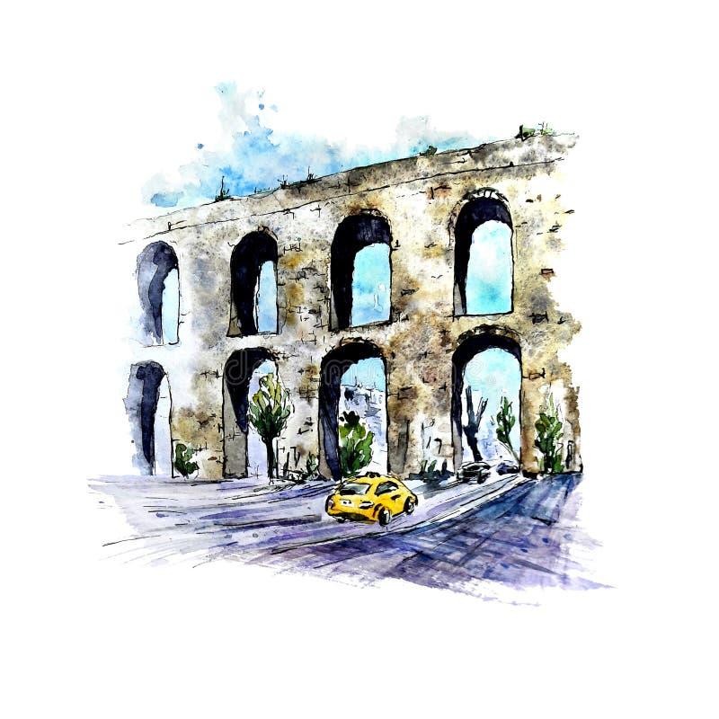 Croquis d'aquarelle d'aqueduc de Valens, Istanbul, Turquie illustration de vecteur