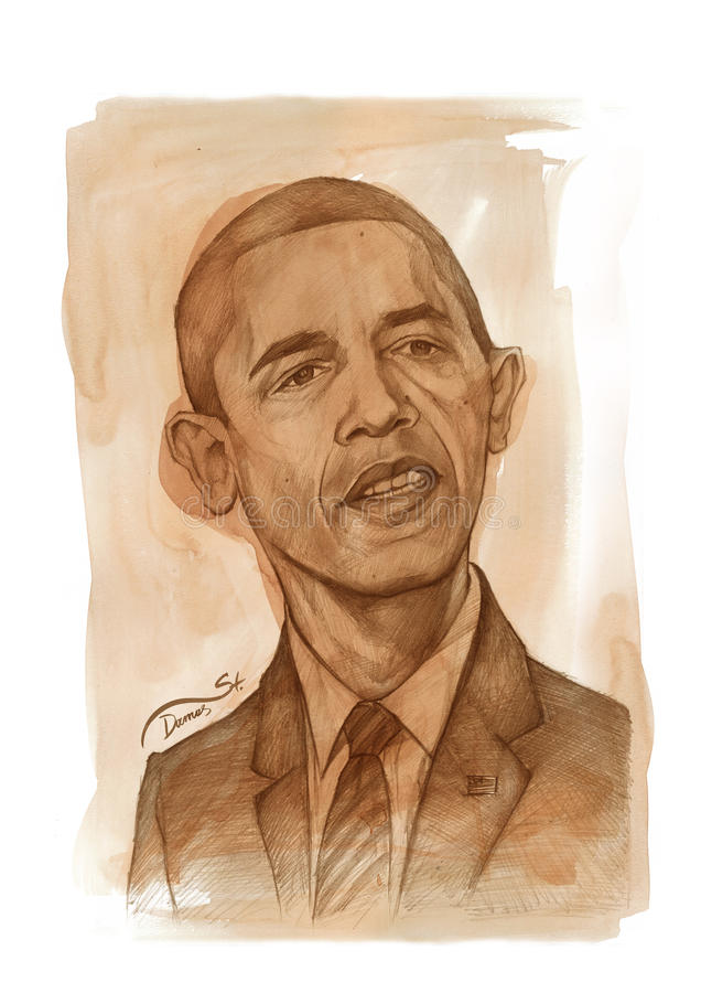 Croquis d'aquarelle de Barack Obama illustration de vecteur