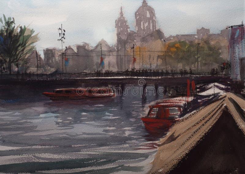 Croquis d'aquarelle de centre de la ville d'Amsterdam illustration libre de droits