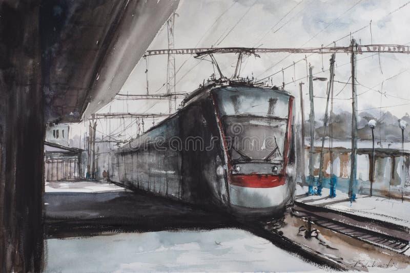 Croquis d'aquarelle de gare ferroviaire illustration stock