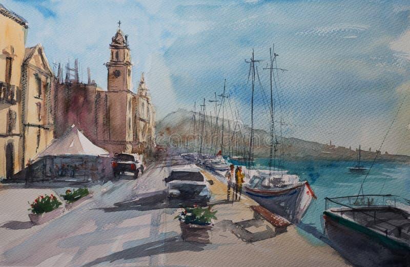 Croquis d'aquarelle de ville de Valette illustration de vecteur