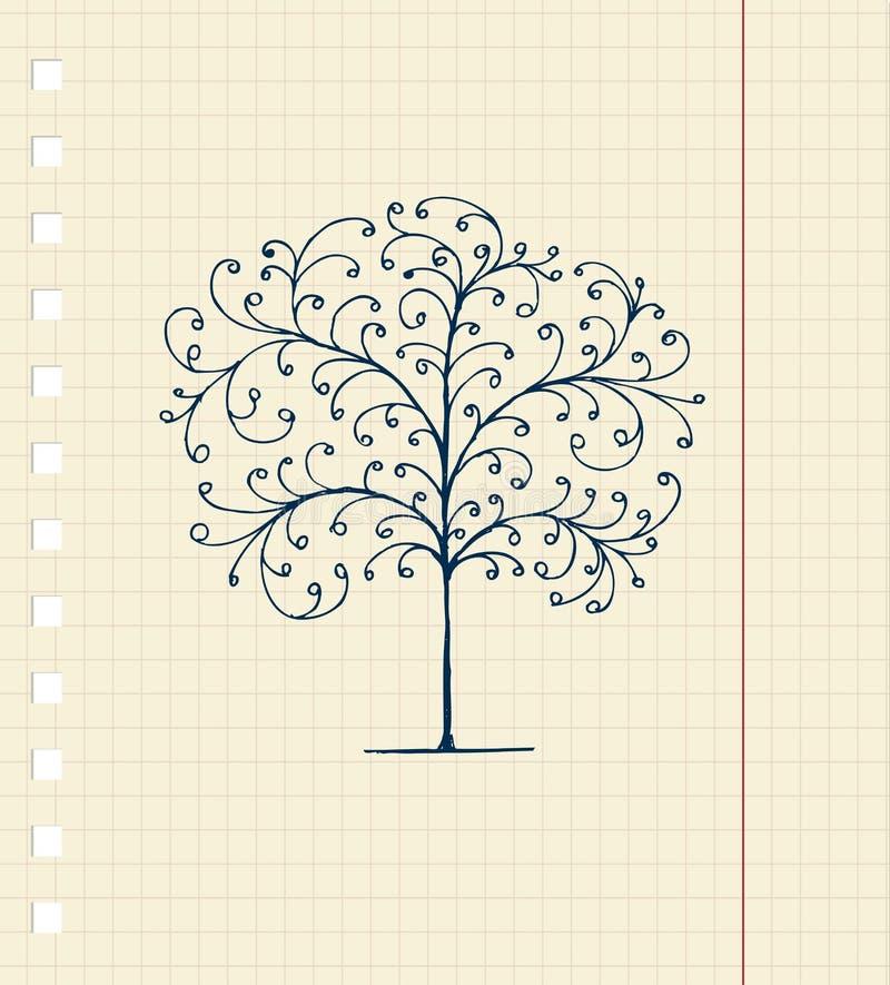 Croquis d'arbre sur la feuille de cahier pour votre conception illustration stock