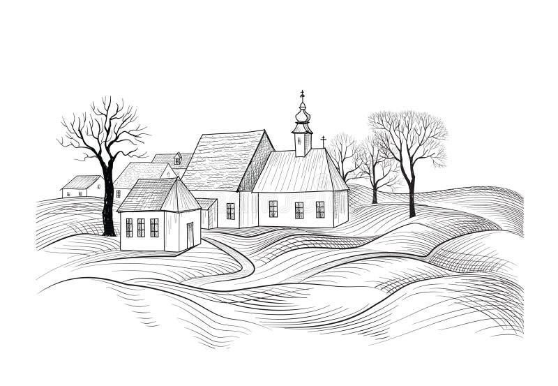 Croquis d'architecture de maison Horizon de côté de pays avec le perspect illustration stock