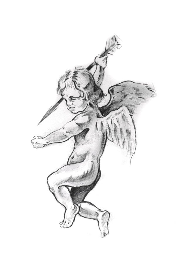 Croquis d'art de tatouage, cupidon illustration de vecteur