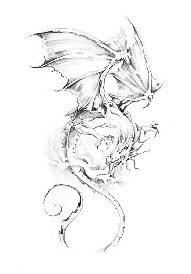 Croquis d'art de tatouage, dragon illustration de vecteur