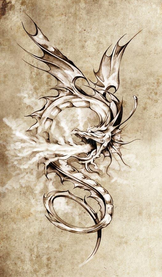 Croquis d'art de tatouage, illustration élégante de dragon illustration libre de droits