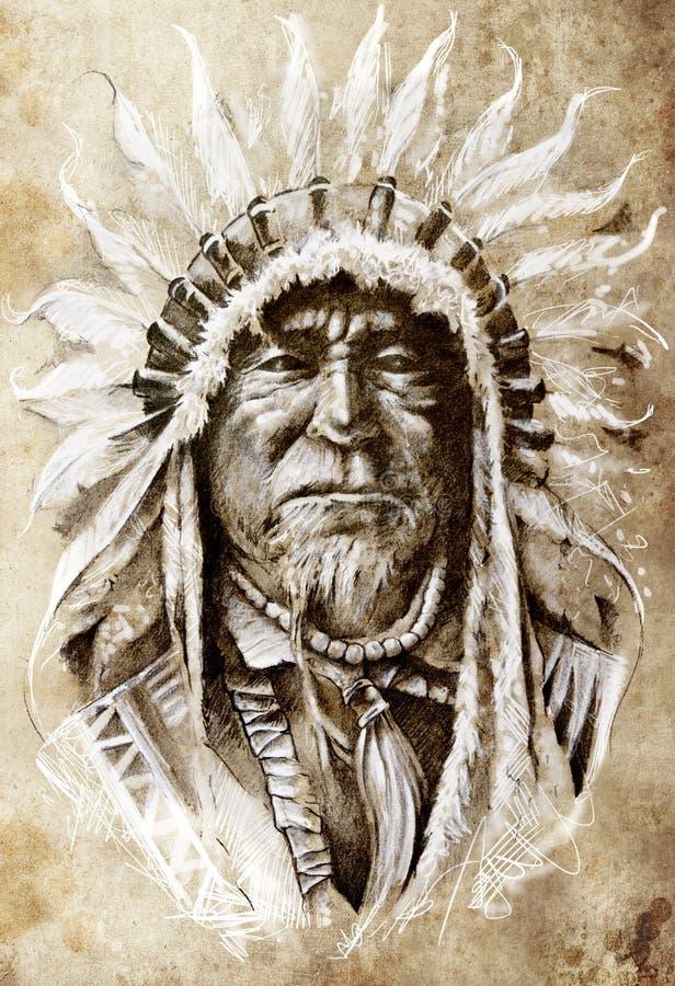 Croquis d'art de tatouage, Indien d'Amerique indigène illustration de vecteur