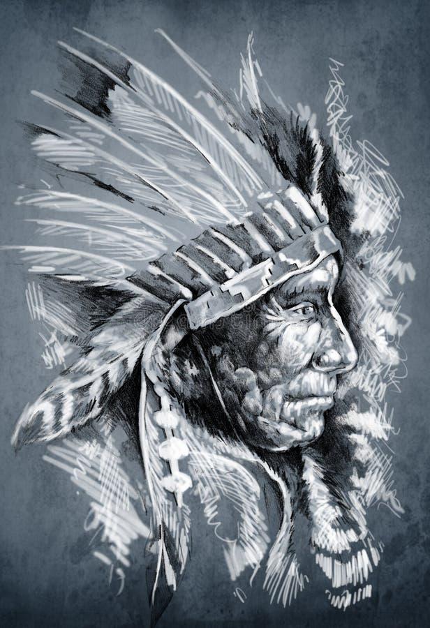 Croquis d'art de tatouage, Indien d'Amerique indigène illustration libre de droits
