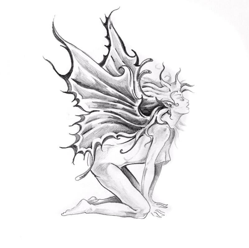 Croquis d'art de tatouage, Jesus Christ illustration libre de droits