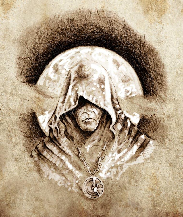 Croquis d'art de tatouage, magicien, concept de veille de la toussaint illustration libre de droits