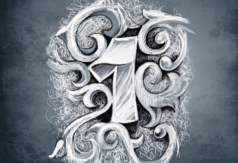 Croquis d'art de tatouage, un numéro, fabriqué à la main illustration stock