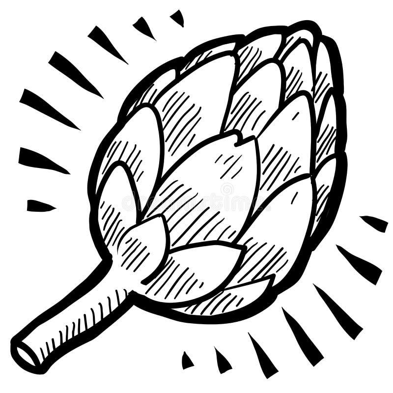 Croquis d'artichaut illustration libre de droits