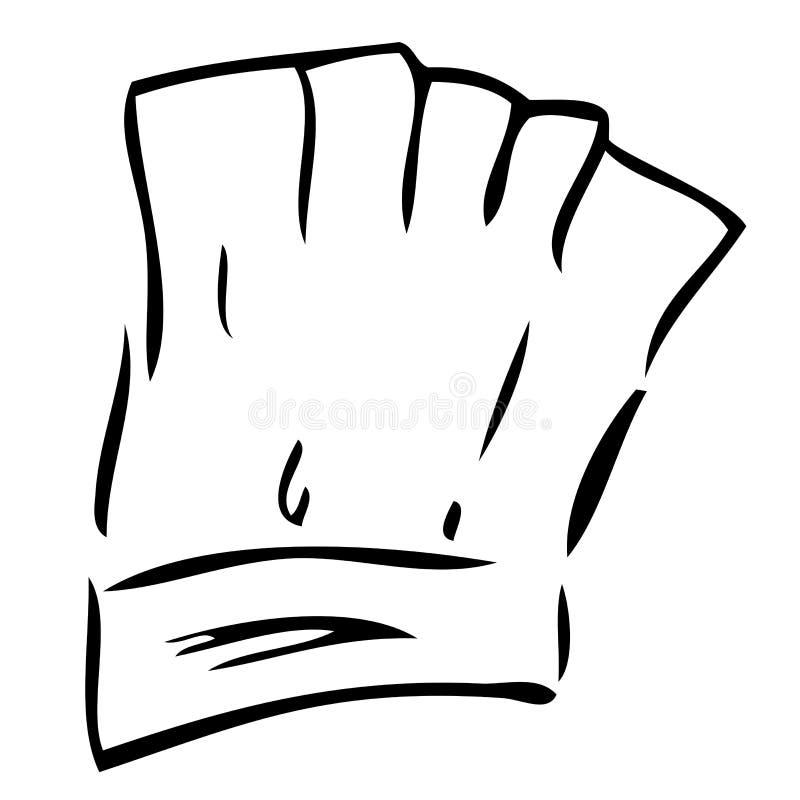 Croquis d'aspiration de main de chef Hat, d'isolement sur le blanc illustration libre de droits