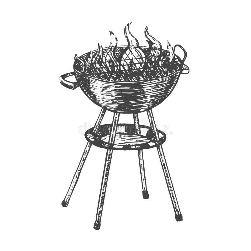 Croquis d'aspiration de main de barbecue Vecteur illustration stock