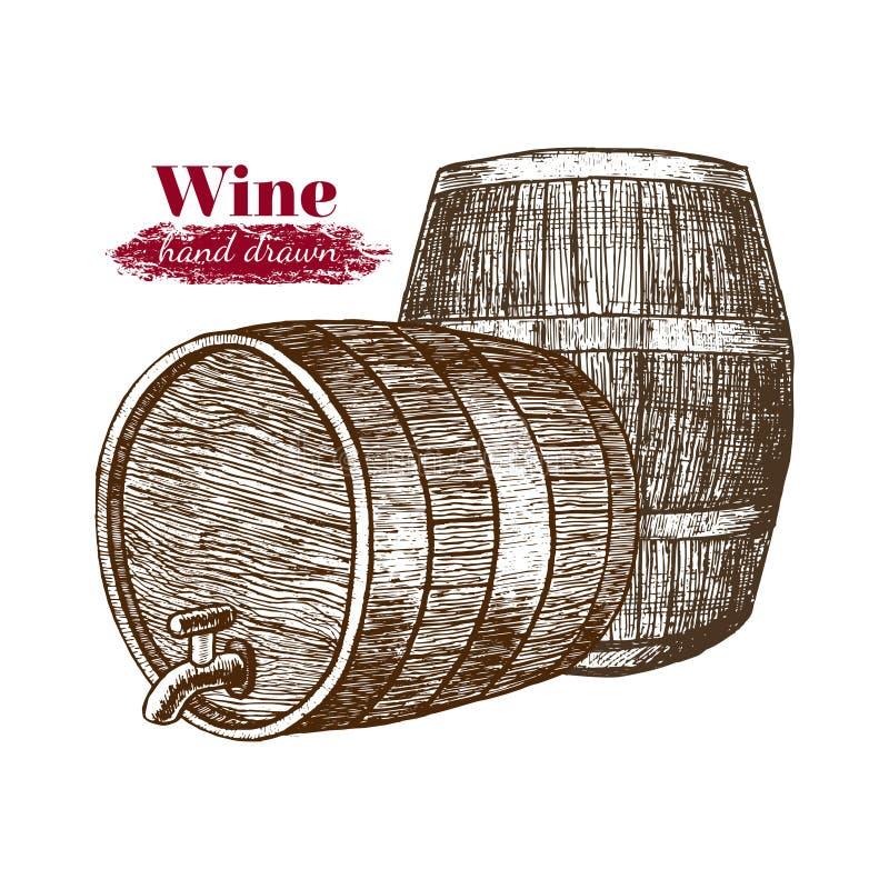 Croquis d'aspiration de main de barils de vin Vecteur illustration de vecteur