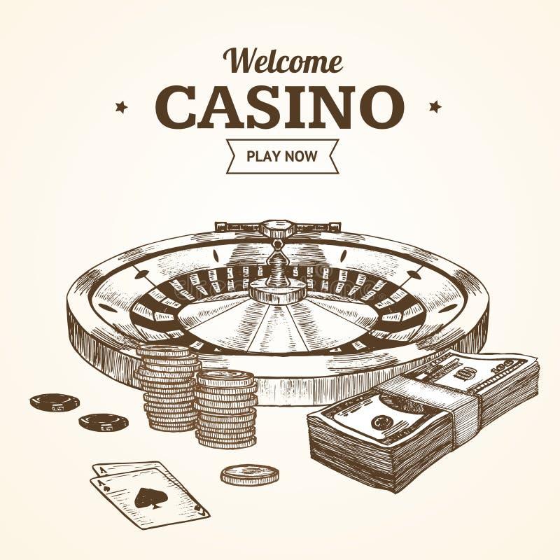 Croquis d'aspiration de main de roue de roulette de sorcière de carte ou d'affiche de casino Vecteur illustration de vecteur