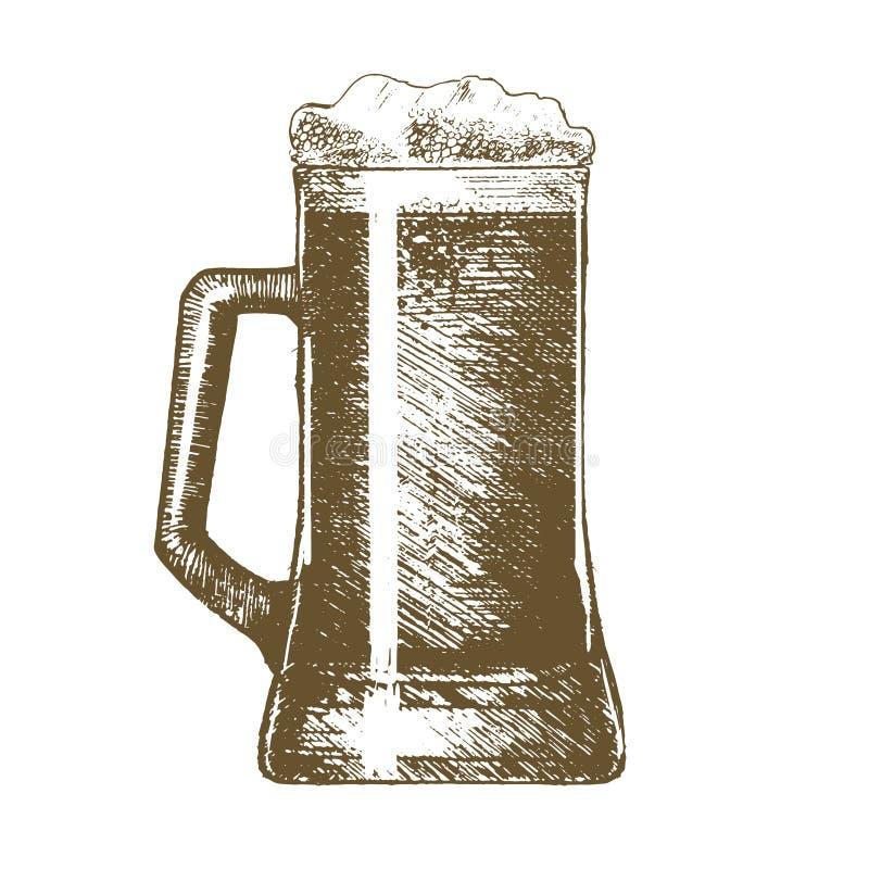 Croquis d'aspiration de main de tasse de bière Vecteur illustration de vecteur
