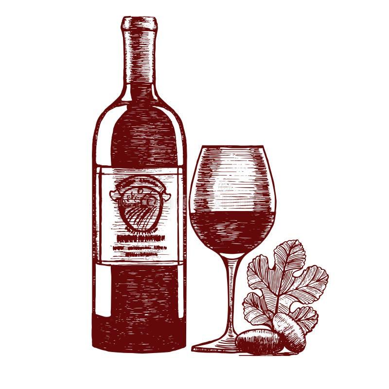 Croquis d'aspiration de main de vin Vecteur illustration libre de droits