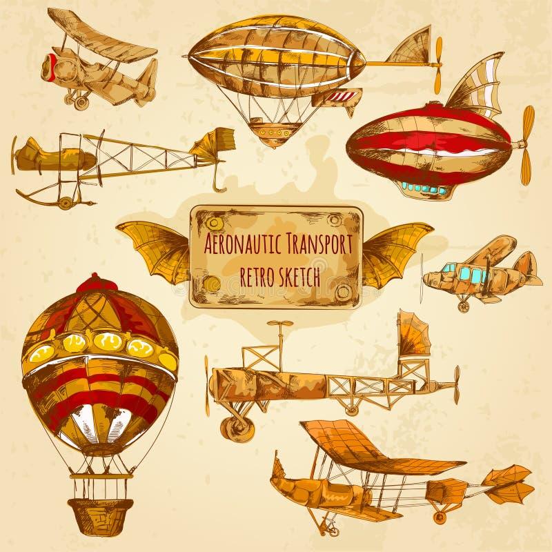 Croquis d'aviation de vintage illustration de vecteur