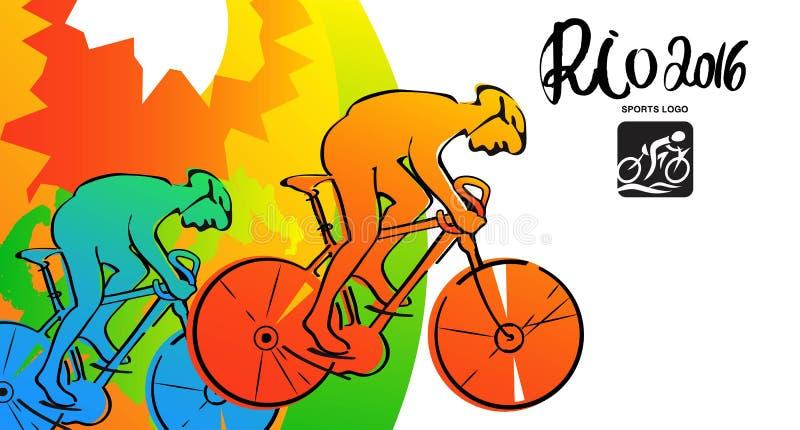 Croquis d'encre d'athlètes Cartes de sports de cycliste, affiche, illustration Illustration 2016 de Rio illustration stock
