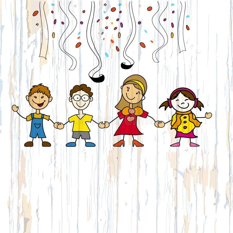 Croquis d'enfants de jardin d'enfants sur le fond en bois illustration libre de droits