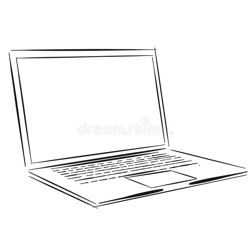 Croquis d'ensemble d'ordinateur portable illustration de vecteur
