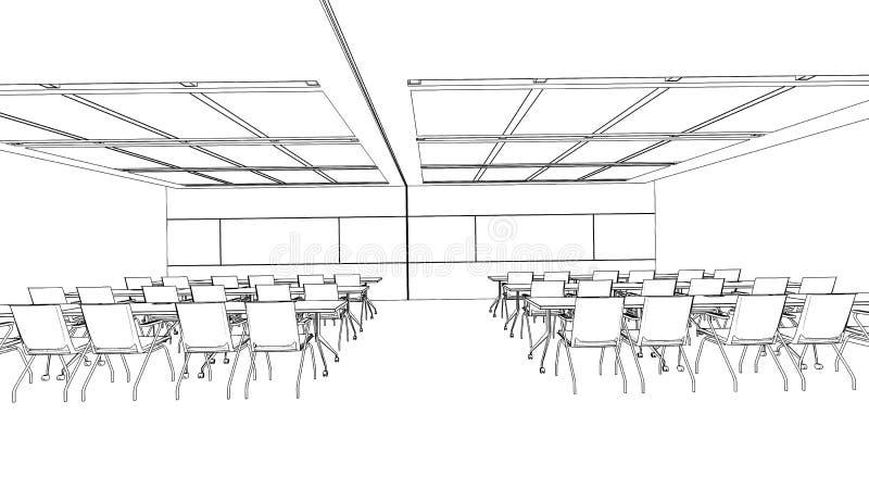 Croquis d'ensemble d'un lieu de réunion intérieur illustration de vecteur