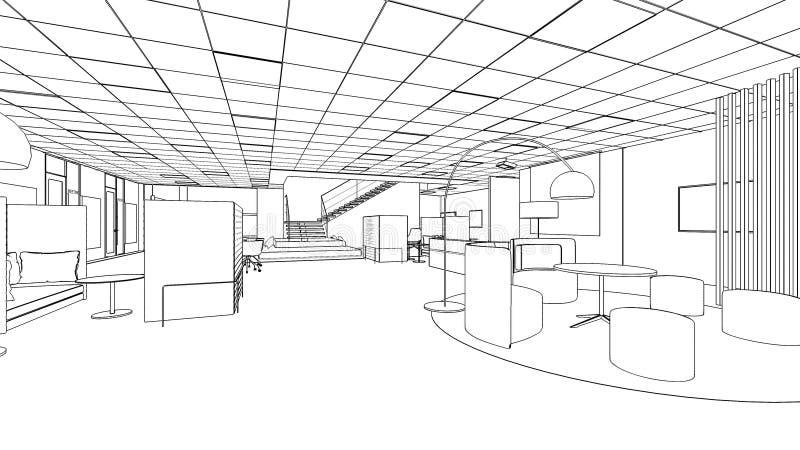 Croquis d'ensemble d'un secteur intérieur d'office illustration stock