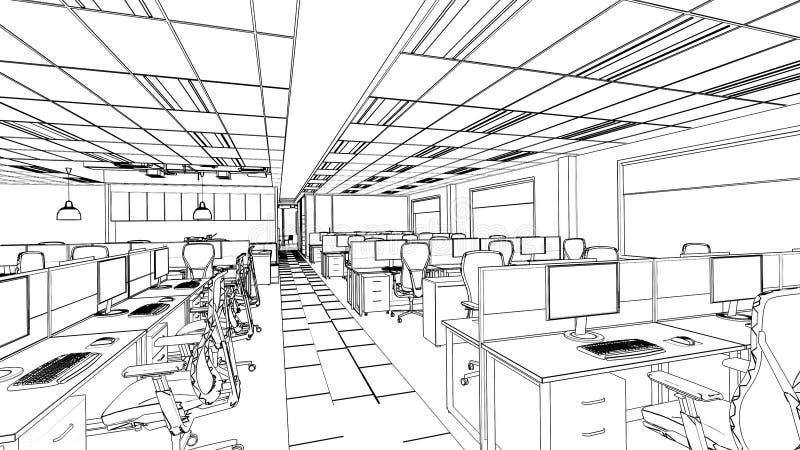 Croquis d'ensemble d'un secteur intérieur de bureau illustration libre de droits