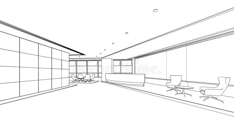 Croquis d'ensemble d'une zone d'accueil intérieure illustration de vecteur